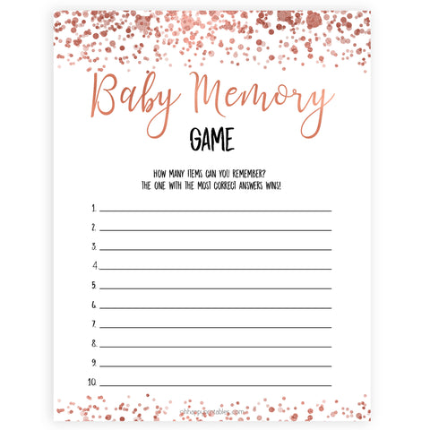 rose gold baby memory game, printable baby shower games, fun baby games, rose gold baby games, popular baby games