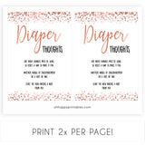Rose gold diaper thoughts baby shower games, fun baby shower games, popular baby shower games, printable baby shower games, diaper games