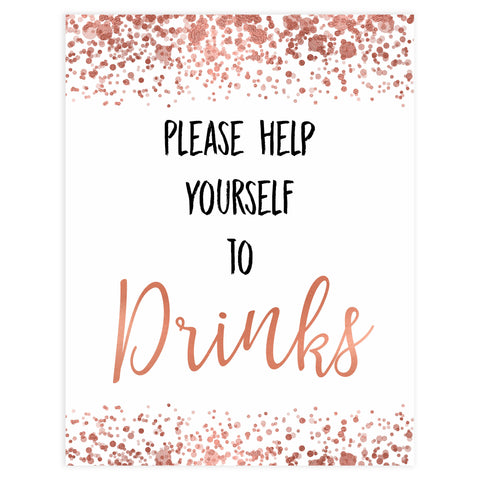 drinks baby signs, drink baby table signs, Rose gold baby decor, printable baby table signs, printable baby decor, rose gold table signs, fun baby signs, rose gold fun baby table signs