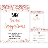 rose gold baby name suggestions, baby name suggestions keepsake, printable baby keepsakes, baby shower games, fun baby shower games