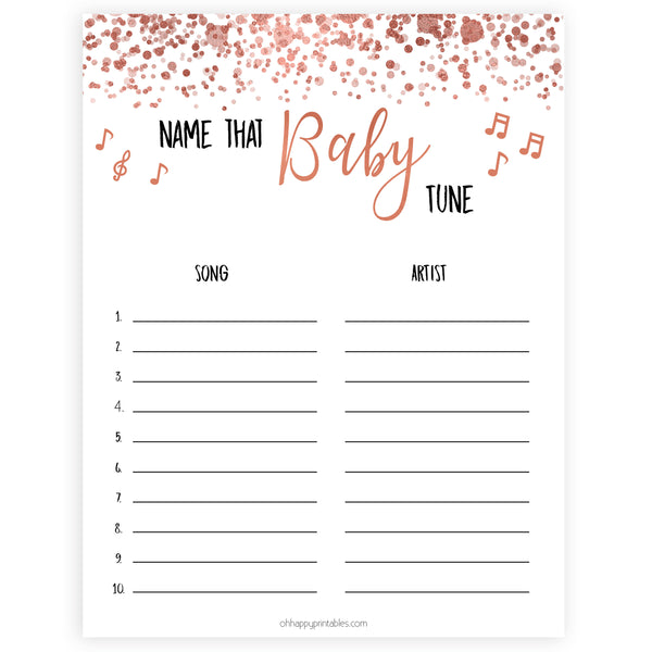 name that baby tune, baby shower games, rose gold baby shower game, popular baby shower game, fun baby shower game
