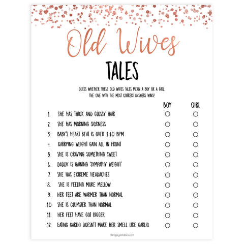 old wives tales, old wives tales game, Printable baby shower games, rose gold fun baby games, baby shower games, fun baby shower ideas, top baby shower ideas, blush baby shower, rose gold baby shower ideas