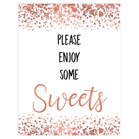 sweets baby table signs, sweets baby signs, Rose gold baby decor, printable baby table signs, printable baby decor, rose gold table signs, fun baby signs, rose gold fun baby table signs