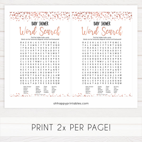 baby word search game, baby word search, Printable baby shower games, rose gold fun baby games, baby shower games, fun baby shower ideas, top baby shower ideas, blush baby shower, rose gold baby shower ideas