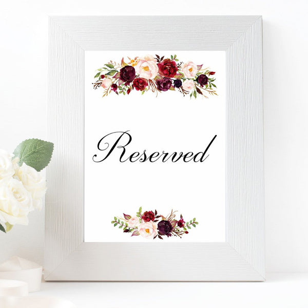 Reserved burgundy marsala wedding sign printable