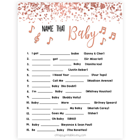 Rose Gold Name That Song Baby, Baby Song Games, Guess the Song Game, Rose Gold Baby Shower, Name that Baby, Musical Baby Games, Printable baby shower games, fun baby shower games, popular baby shower games