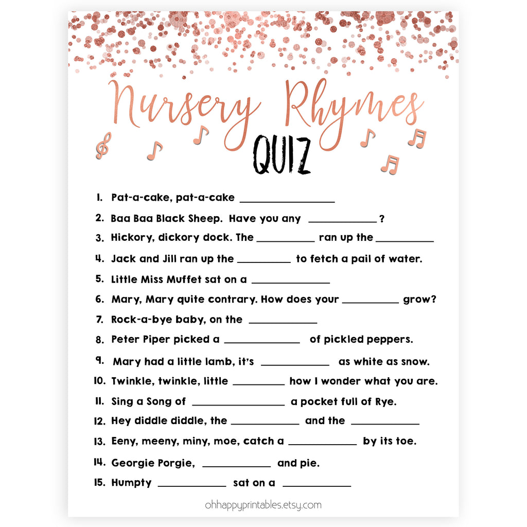 Nursery Rhyme Quiz Game - Rose Gold Printable Baby Shower ...