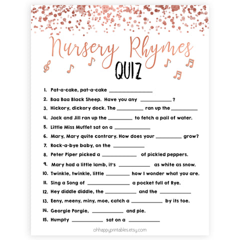 Rose Gold Nursery Rhyme Quiz, Nursery Rhyme Game, Baby Shower Games, Baby Rhyme Game, Guess the Nursery Rhyme, Rose Gold Baby Shower Games, printable baby shower games, fun baby shower games, popular baby shower games