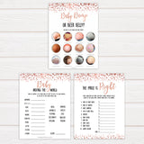 Rose Gold Baby Shower Games Pack, 7 Baby Shower Games Bundle, Printable Baby Shower Games, Rose Gold Baby Shower Ideas, Baby Shower, printable baby shower games, fun baby shower games, popular baby shower games