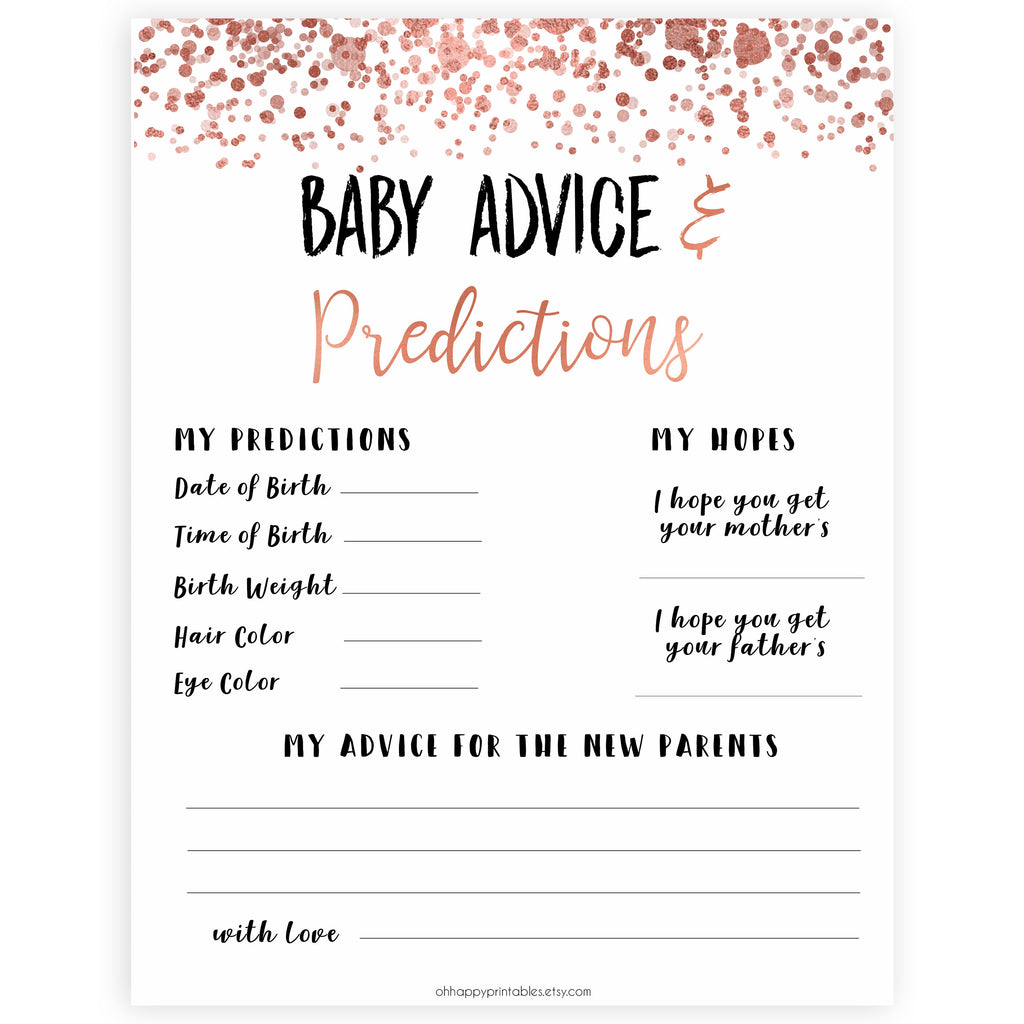 New Baby Advice Predictions Card Rose Gold Baby Shower Games Ohhappyprintables