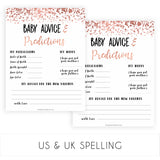 Rose Gold Baby Advice & Predictions, Advice for New Parents, Baby Advice Printable, Rose Gold Baby Shower, New Baby Predictions, printable baby shower games, fun baby shower games, popular baby shower games