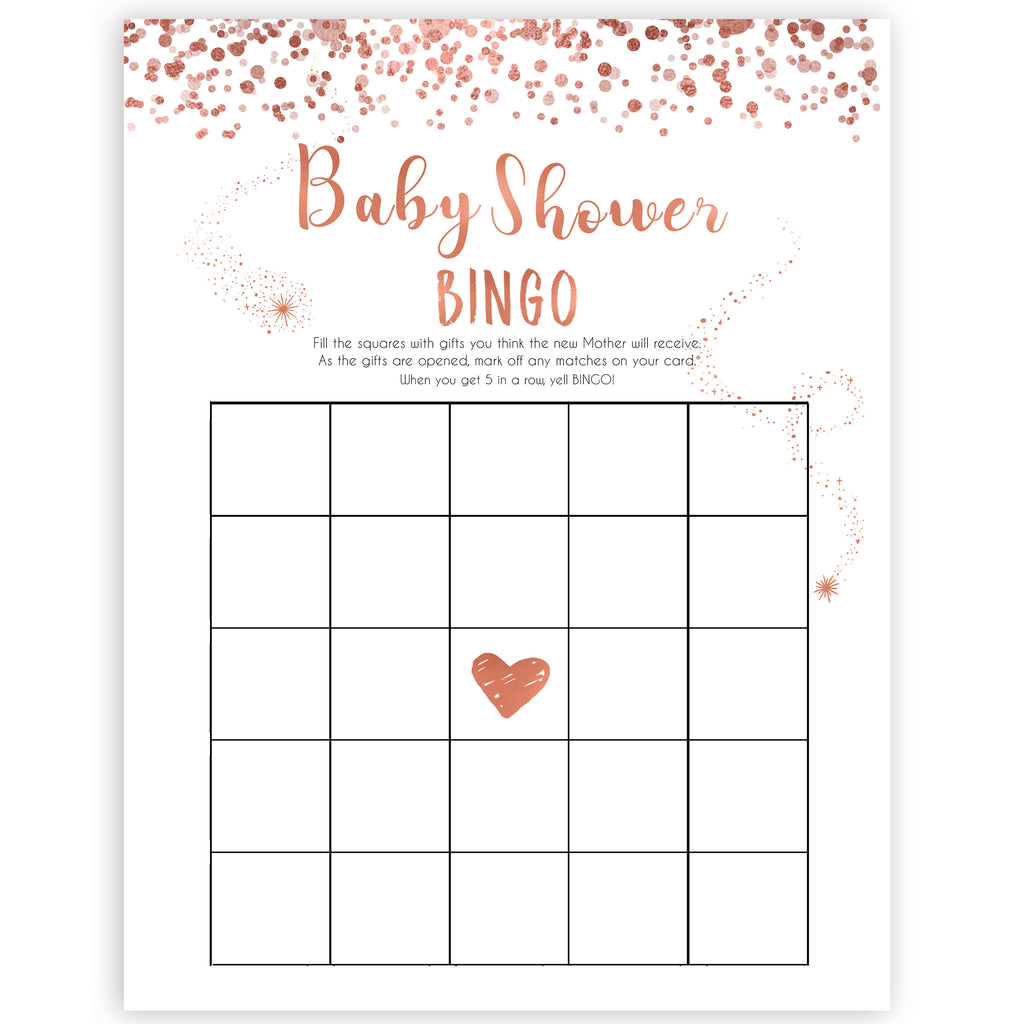 image relating to Printable Baby Shower Bingo named Kid Shower Bingo - Rose Gold Printable Youngster Shower Game titles