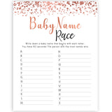 rose gold baby name race game, printable baby shower games, fun baby games, rose gold baby games, popular baby games