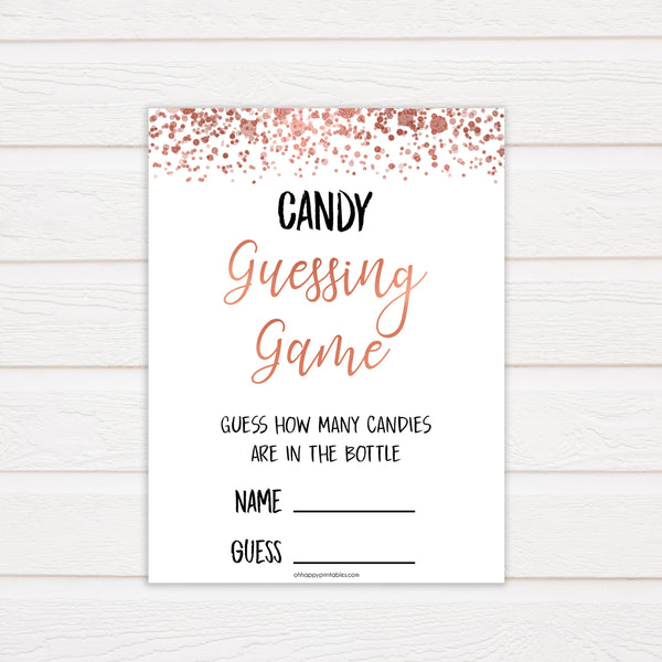 Rose Gold Candy Guessing Game, Rose Gold Candy Guessing Game, Candy Game, Rose Gold Candies in A Jar Game, Printable Baby Shower Games, fun baby shower games, popular baby shower games