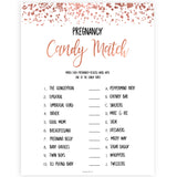 Rose Gold Pregnancy Candy Match Game, Printable Baby Shower Games, Candy Match Baby Game, Rose Baby Shower Games, Pregnancy Candy Match, printable baby shower games, fun baby shower games, popular baby shower games