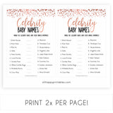 Rose Gold Celebrity Baby Names, Guess the Celebrity Baby, Famous Babies Game, Celebrity Babies Game, Rose Gold Baby Shower, Printable Game, fun baby shower games, popular baby shower games