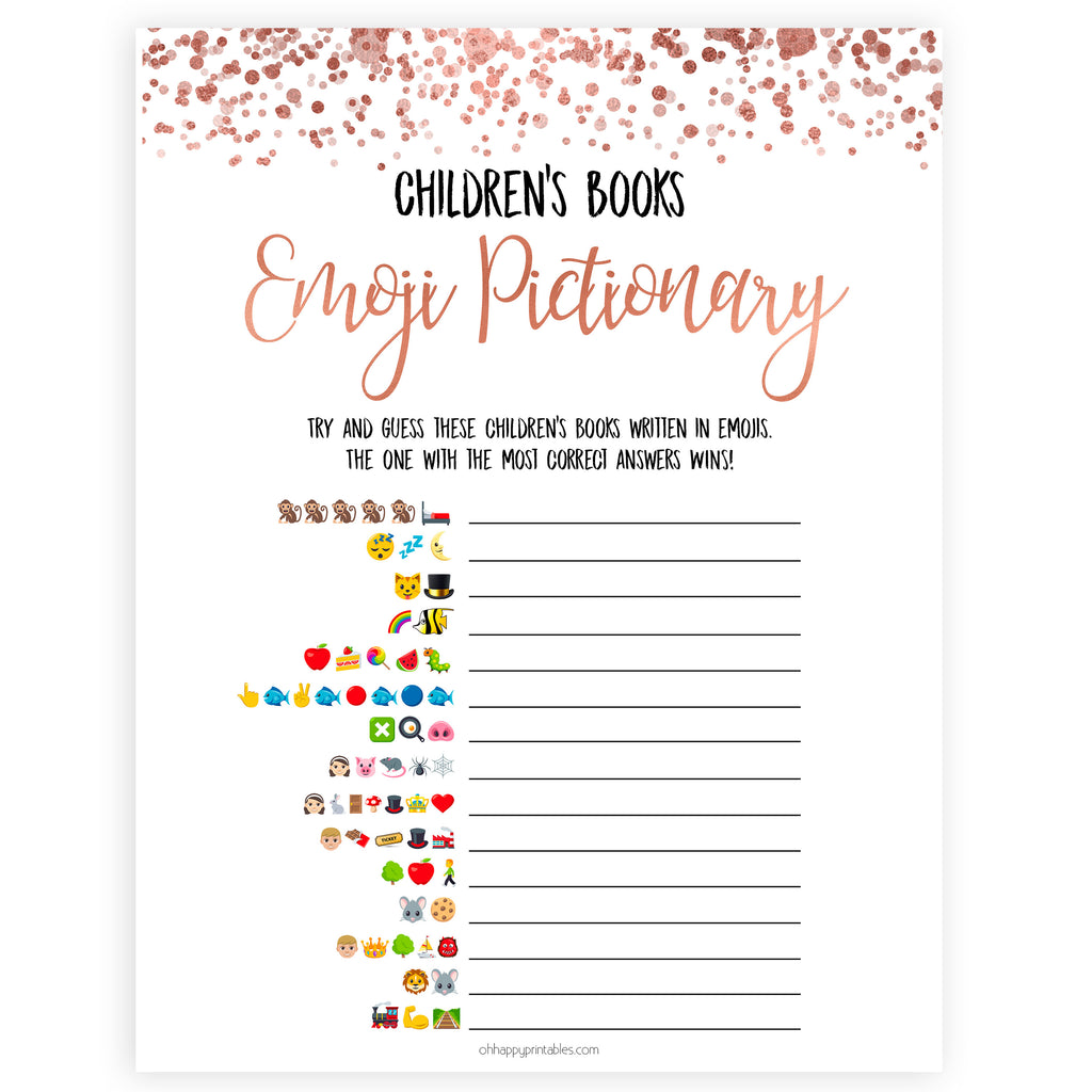 graphic regarding Printable Baby Book known as Childrens Publications Emoji Pictionary - Rose Gold Printable Youngster