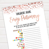 Rose Gold Childrens Books Emoji Pictionary, Childrens Book Emoji Game, Baby Emoji Pictionary, Printable Baby Shower Games, Baby Emoji , fun baby shower games, popular baby shower games