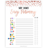 Rose Gold Emoji Pictionary Baby Shower Games, Gold Emoji Baby Shower Games, Rose Gold Emoji Pictionary, Baby Shower Emoji Game, Emoji printable baby shower game, fun baby shower games, popular baby shower games