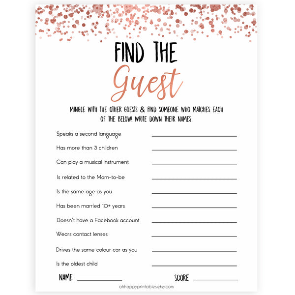 Rose Gold Find The Guest Baby Shower Game,Find the Guest, Ice Breaker Game, Fun Baby Shower Games, Rose Gold Baby Shower, Find the Guest, printable baby shower games, fun baby shower games, popular baby shower games