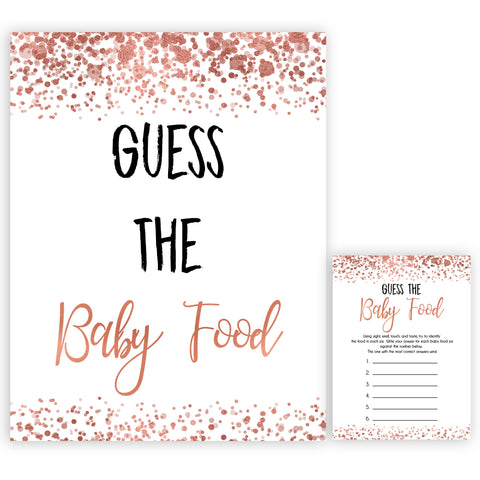rose gold baby guess the baby food game, printable baby shower games, fun baby games, rose gold baby games, popular baby games