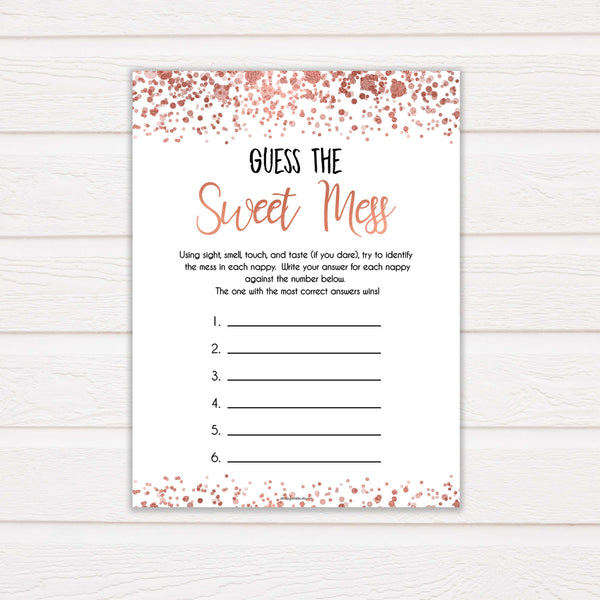 rose gold guess the sweet mess game, printable baby shower games, fun baby games, rose gold baby games, popular baby games