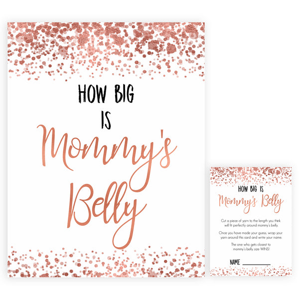 How Big Is Mommy's Belly in Rose Gold, Mommys Belly Game, Baby Shower Games, Rose Gold Baby Games, Guess Mommys Belly, Funny Baby Game, printable baby shower games