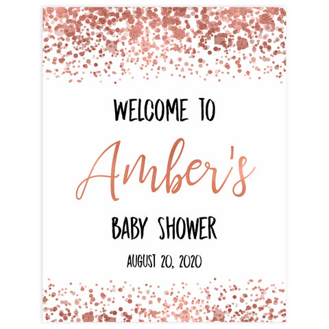baby welcome sign, printable baby signs, rose gold baby signs, rose gold baby shower, baby welcome signs, rose gold baby decor, rose gold baby