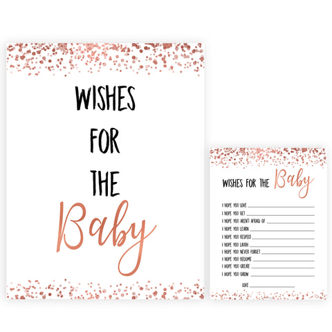 Rose Gold Wishes For The Baby, Baby Wishes, Wishes for The Baby, Printable Baby Shower Games, Baby Shower Baby Wishes, Baby Wishes Cards, printable baby games, fun baby shower games, popular baby shower games
