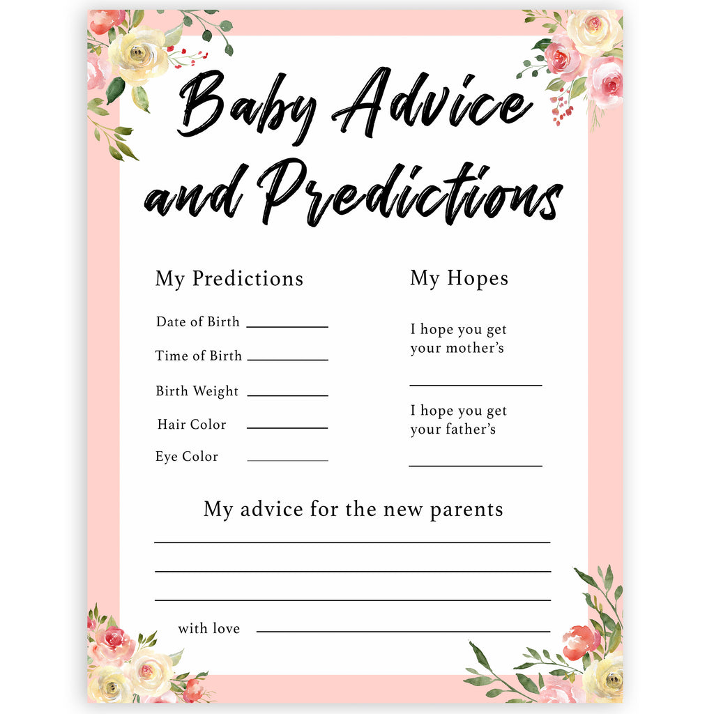 New Baby Advice Predictions Card Spring Floral Printable Baby Games Ohhappyprintables