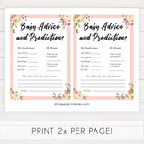 spring floral baby advice and predictions baby shower games, printable baby shower games, fun baby shower games, baby shower games, popular baby shower games