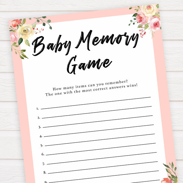 spring floral Baby memory game baby shower games, printable baby shower games, fun baby shower games, baby shower games, popular baby shower games