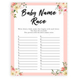 spring floral baby name race baby shower games, printable baby shower games, fun baby shower games, baby shower games, popular baby shower games