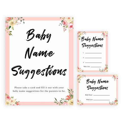 spring floral baby name suggestions baby shower games, printable baby shower games, fun baby shower games, baby shower games, popular baby shower games