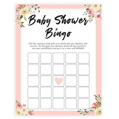 spring floral baby shower bingo baby shower games, printable baby shower games, fun baby shower games, baby shower games, popular baby shower games