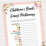 spring floral childrens books emoji pictionary baby shower games, printable baby shower games, fun baby shower games, baby shower games, popular baby shower games