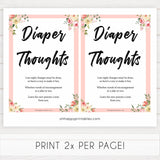 spring floral diaper thoughts baby shower games, printable baby shower games, fun baby shower games, baby shower games, popular baby shower games