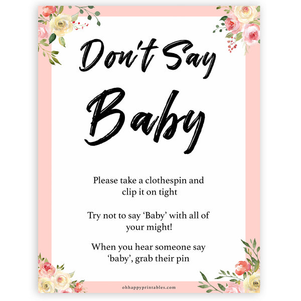 spring floral dont say baby baby shower games, printable baby shower games, fun baby shower games, baby shower games, popular baby shower games