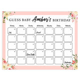 guess the baby birthday game, baby birth predictions game, printable baby shower games, floral baby shower ideas, floral baby games