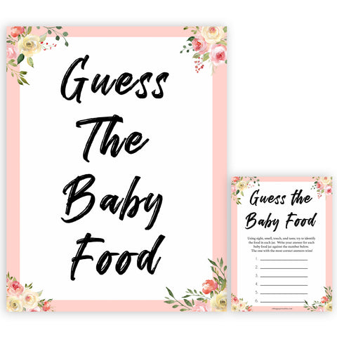 spring floral guess the baby food baby shower games, printable baby shower games, fun baby shower games, baby shower games, popular baby shower games