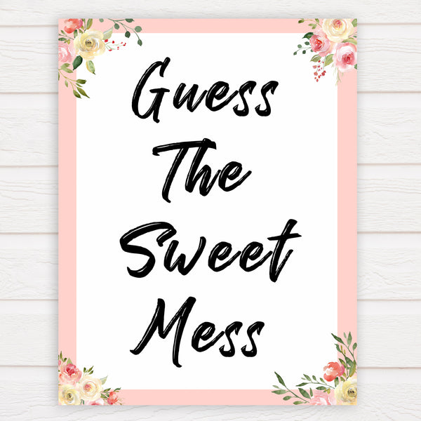 spring floral guess the sweet mess baby shower games, printable baby shower games, fun baby shower games, baby shower games, popular baby shower games