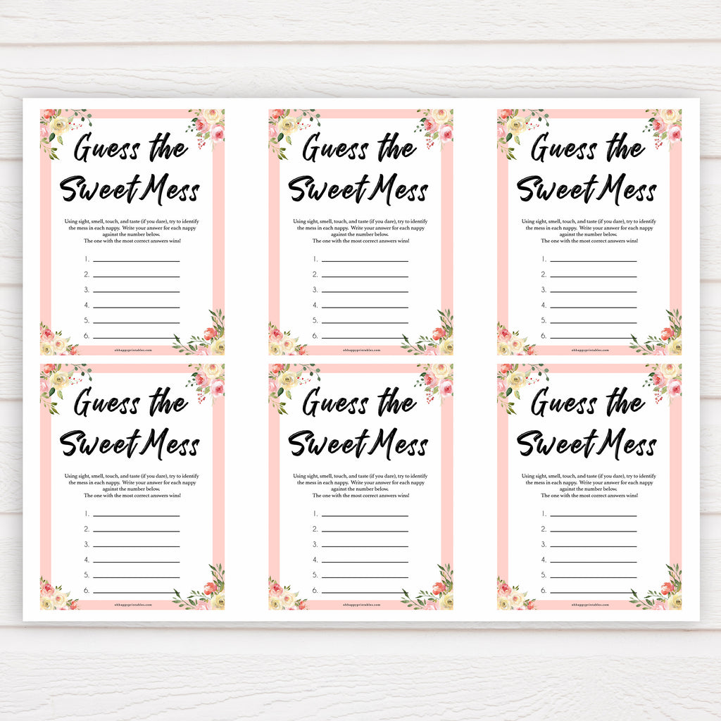 Guess The Sweet Mess Spring Floral Printable Baby Shower Games Ohhappyprintables