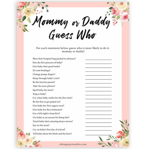 spring floral mummy or daddy guess who baby shower games, printable baby shower games, fun baby shower games, baby shower games, popular baby shower games