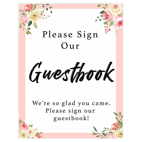 guestbook baby signs, guestbook baby table decor, Spring floral baby decor, printable baby table signs, printable baby decor, floral table signs, fun baby signs, fun baby table signs