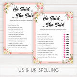 spring floral he said she said guess who baby shower games, printable baby shower games, fun baby shower games, baby shower games, popular baby shower games