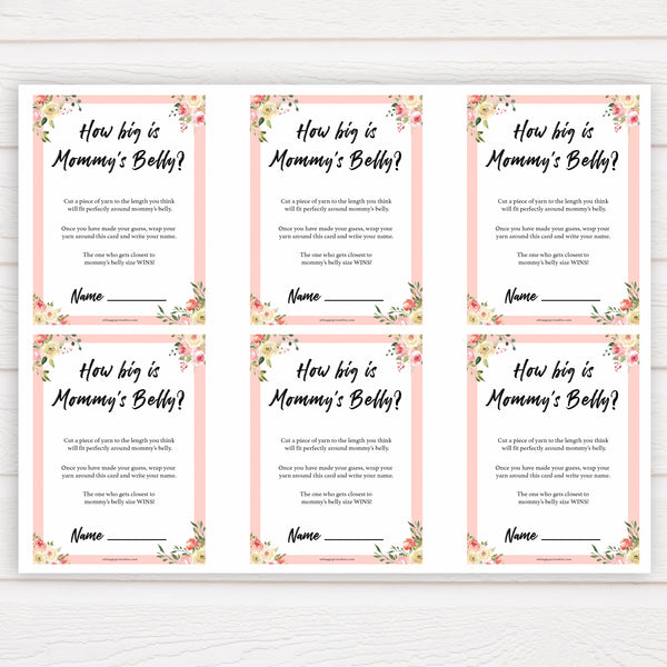 spring floral how big is mummys belly baby shower games, printable baby shower games, fun baby shower games, baby shower games, popular baby shower games