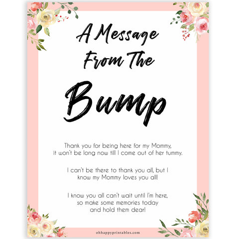 spring floral message from the bump baby shower games, printable baby shower games, fun baby shower games, baby shower games, popular baby shower games