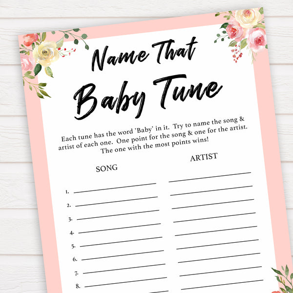 spring floral name that baby tune baby shower games, printable baby shower games, fun baby shower games, baby shower games, popular baby shower games