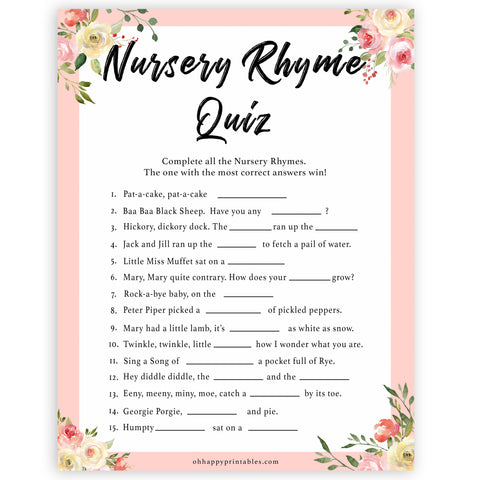 spring floral nursery rhyme quiz baby shower games, printable baby shower games, fun baby shower games, baby shower games, popular baby shower games