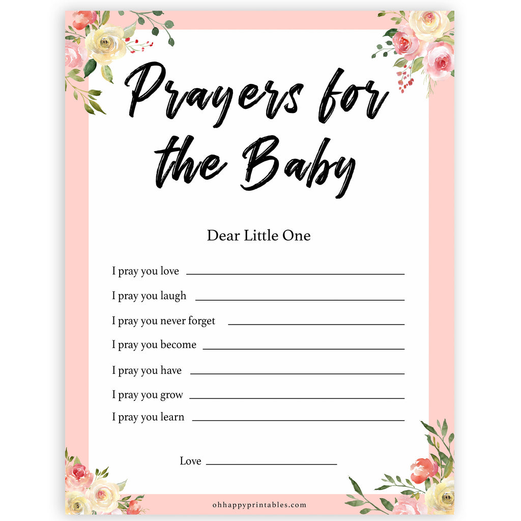 Prayers For The Baby Keepsake - Spring Floral Printable Baby